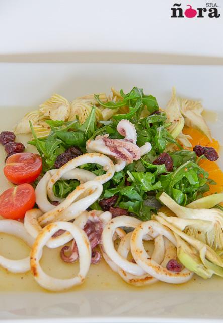 Ensalada de sardina y calamar con vinagreta de citrico-1